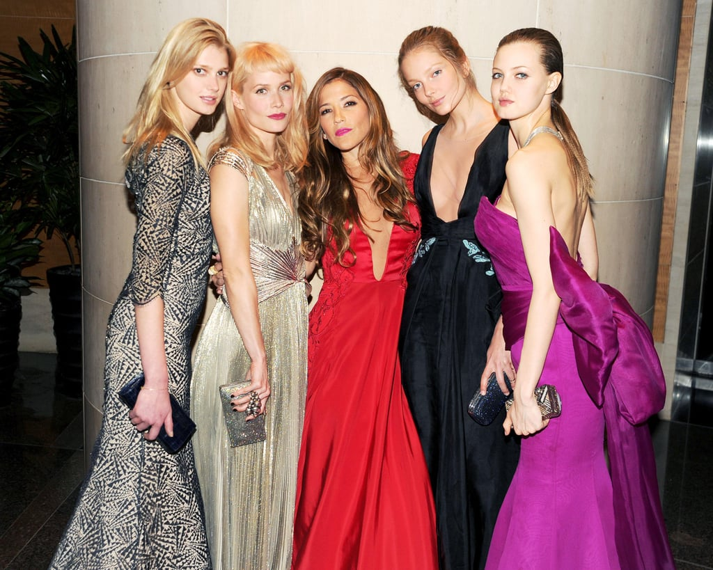 Sigrid Agren (wearing Gabriela Cadena), Nanna Fabricius (wearing Gabriela Cadena), Gabriela Cadena, Eniko Mihalik (wearing Gabriela Cadena), and Lindsey Wixson (wearing Gabriela Cadena) at the New Yorkers For Children 10th Anniversary Spring Dinner Dance in New York. Photo: Billy Farrell/BFAnyc.com