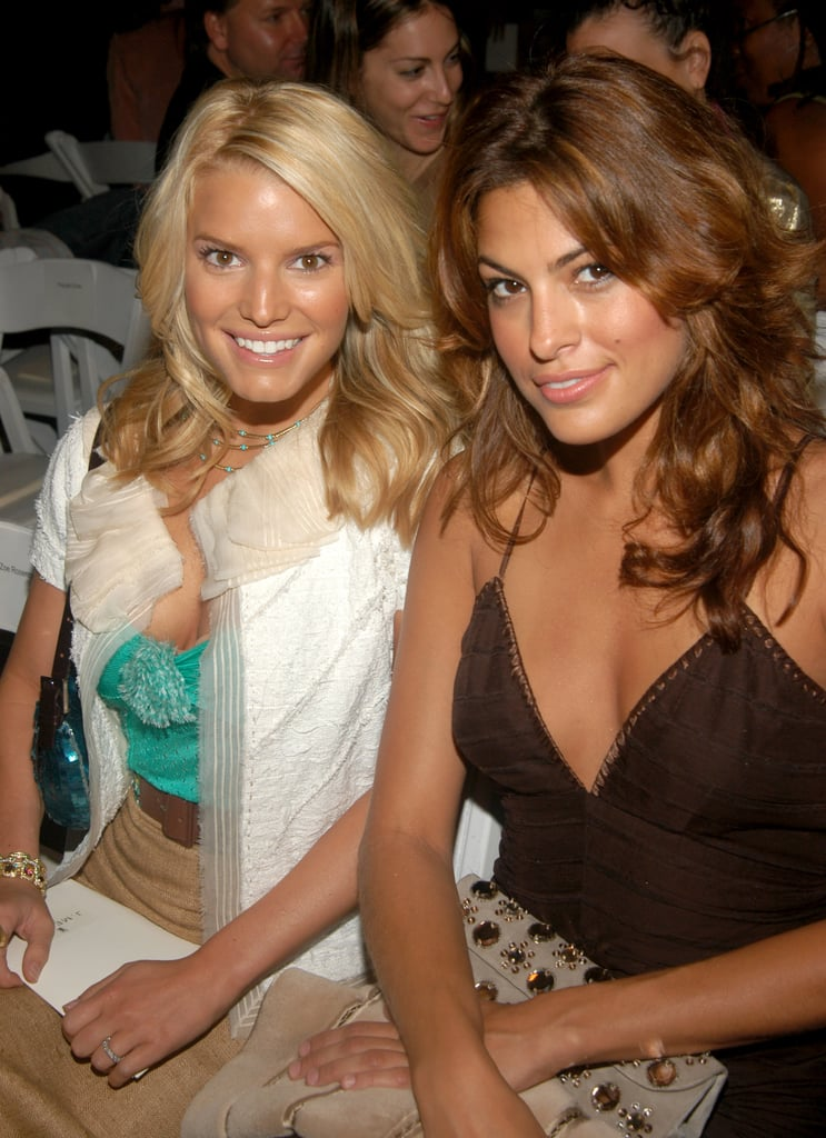 Jessica Simpson and Eva Mendes were all smiles at J. Mendel in NYC in September 2004.
