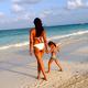 Padma Lakshmi took her daughter to the beach in Mexico.  Source: Instagram user padmalakshmi