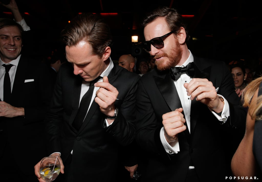 Benedict Cumberbatch got his groove on with Michael Fassbender at Fox's Golden Globes afterparty.