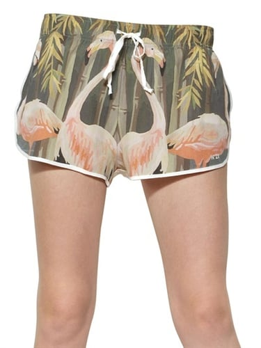 Printed Silk Crepe De Chine Shorts