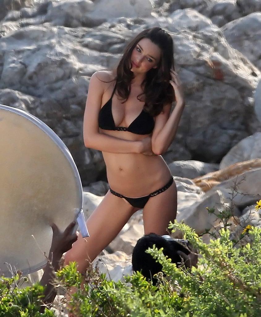 Miranda modeled a black number in Malibu in April 2011 for Victoria's Secret.
