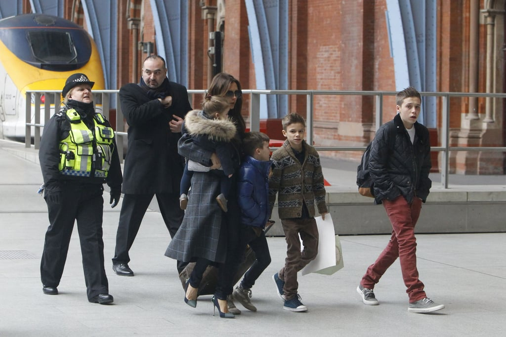 Victoria Beckham and her kids Brooklyn, Romeo, Cruz and Harper arrived home in London after catching the Eurostar train from Paris on February 22.