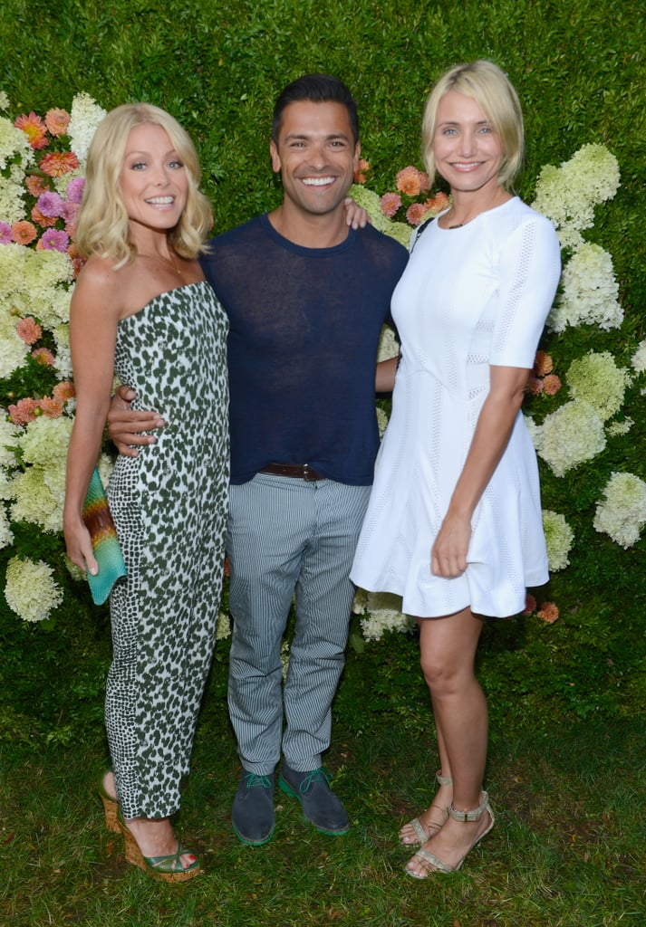 Cameron Diaz caught up with Kelly Ripa and Mark Consuelos at the Seinfelds' Baby Buggy party in East Hampton in July.