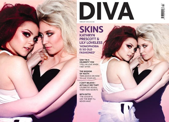 Photos of Kat Prescott and Lily Loveless Portraying Skins Lesbian Couple Naomi and Emily on Cover of DIVA Magazine