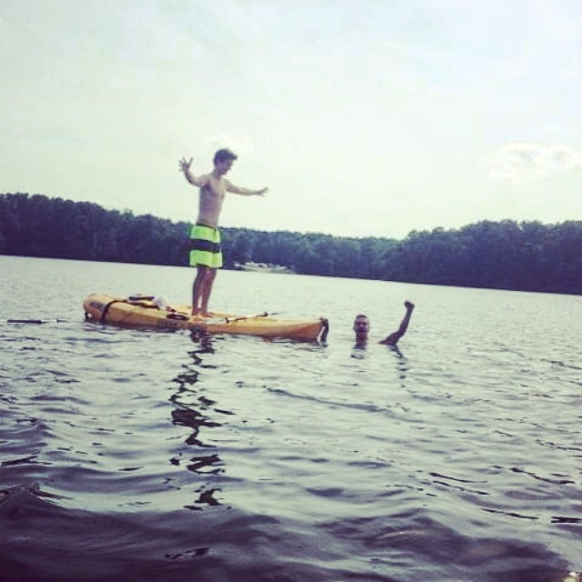 Theo James (Four) and Ansel Elgort (Caleb) took a dip in the lake in Georgia during a break from filming.