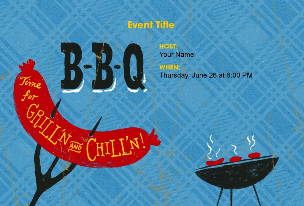 Before you toss your dogs on the grill, get your guests excited with this silly design (free).