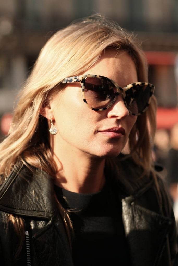 Kate Moss completed her look — how else? — with the perfect pair of cat-eye sunglasses.
