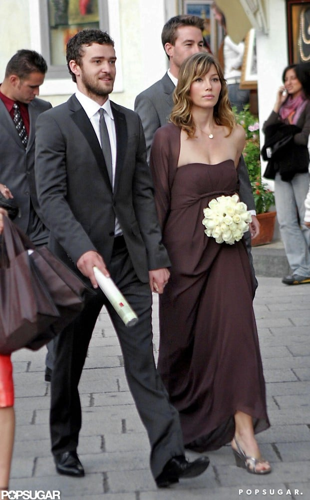 Jessica was a bridesmaid in a friend's Italian wedding in October 2008, and Justin was by her side as a guest.