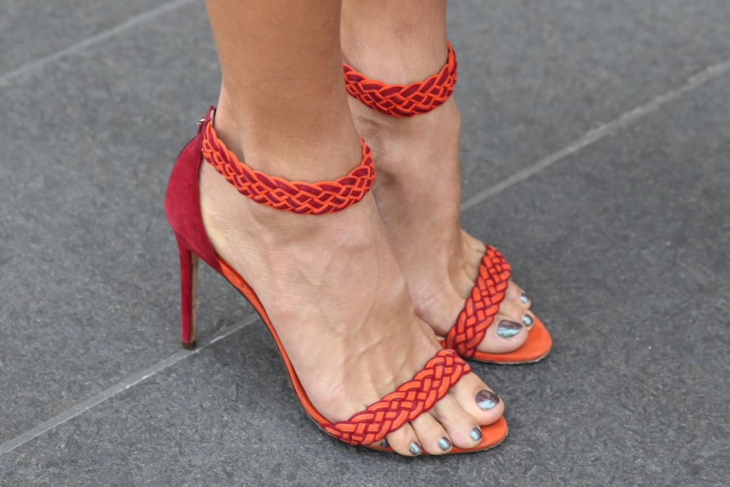Braided detailing and a flash of red on these Alexandre Birman heels.