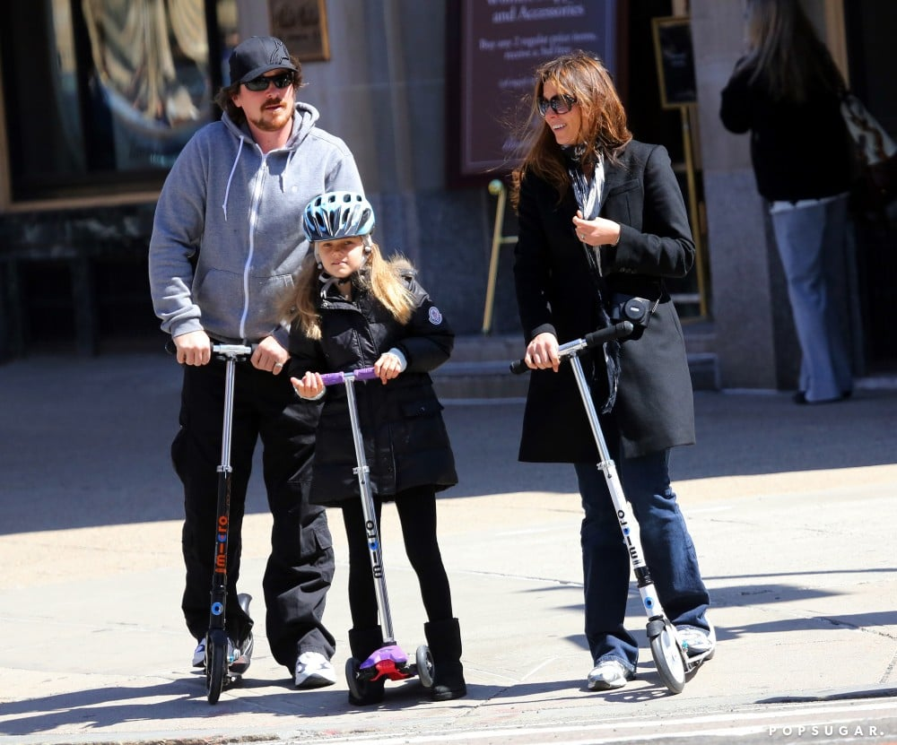 Christian Bale took a break from filming in Boston to scooter around town with his daughter, Emmeline, and his wife, Sibi Blazic.