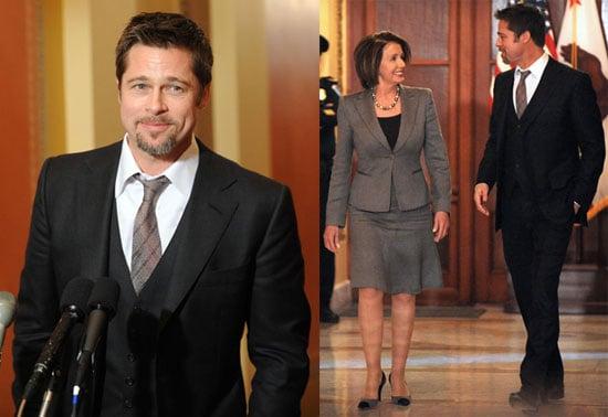 Photos of Brad Pitt and Speaker of the House Nancy Pelosi in Washington DC