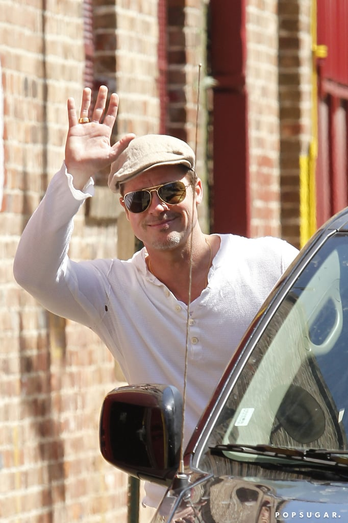 Brad Pitt gave a wave as he made a visit to the Sugar Mill in New Orleans, LA, on Thursday.