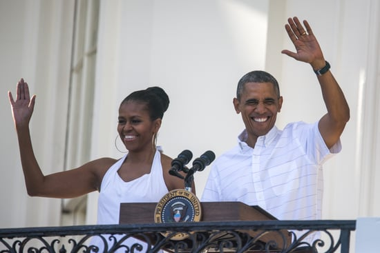President Barack Obama waved alongside Michelle during the White House party in 2014.