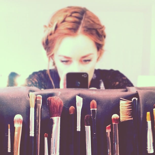 Lauren played with makeup brushes.  Source: Instagram user laurenconrad