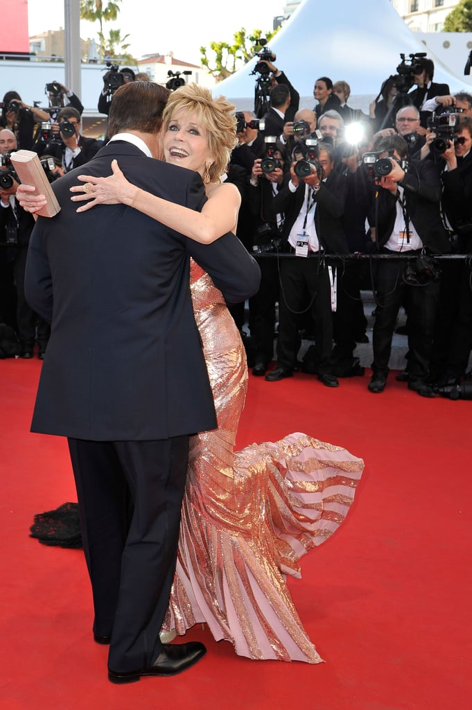 Jane Fonda looked happy to see Alec Baldwin at the opening of the Cannes Film Festival and the premiere of Moonrise Kingdom.