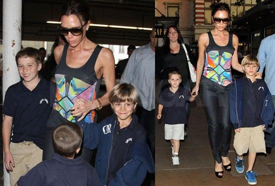 Photos of Victoria Beckham, Romeo Beckham, Brooklyn Beckham, And Cruz Beckham Going to The Movies in LA