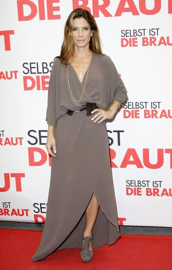 Sandra Bullock Attends Germany Premiere of The Proposal in Taupe Long Wrap Dress