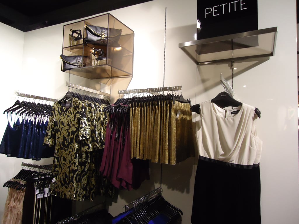 The petite section was crammed full of mini skirts, fitted frocks and hemlines to suit shorter gals.
