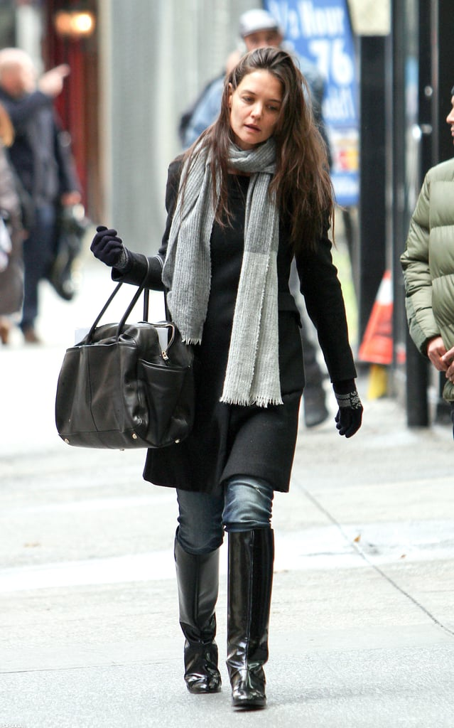Katie Holmes stepped out in a grey scarf in NYC.