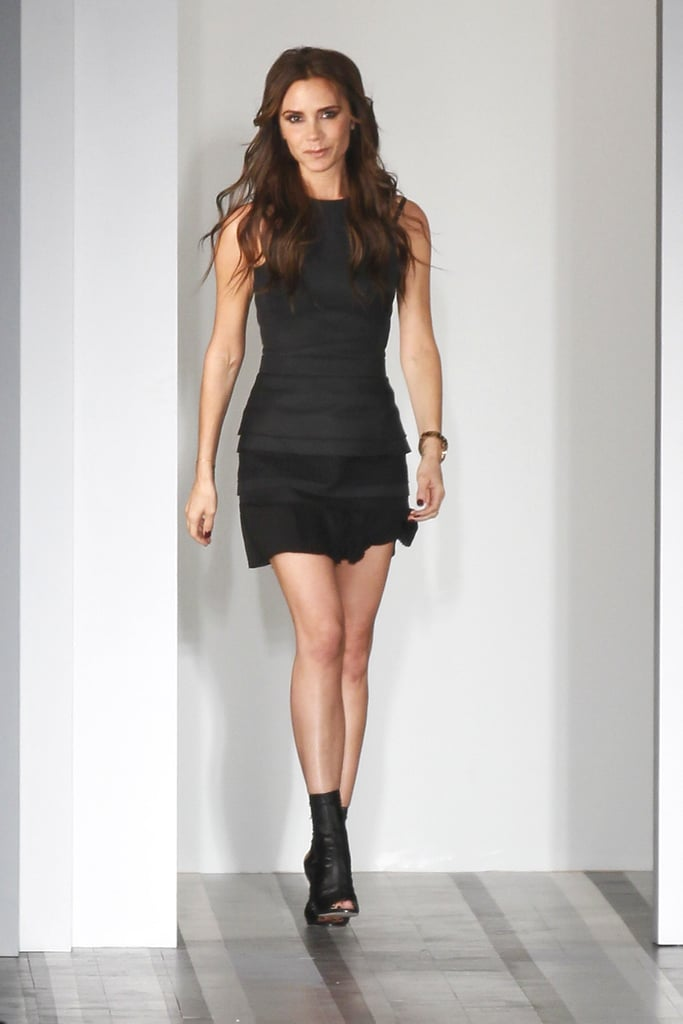 Victoria Beckham wore one of her own sleek minidress designs while presenting her Spring 2013 runway collection in September.