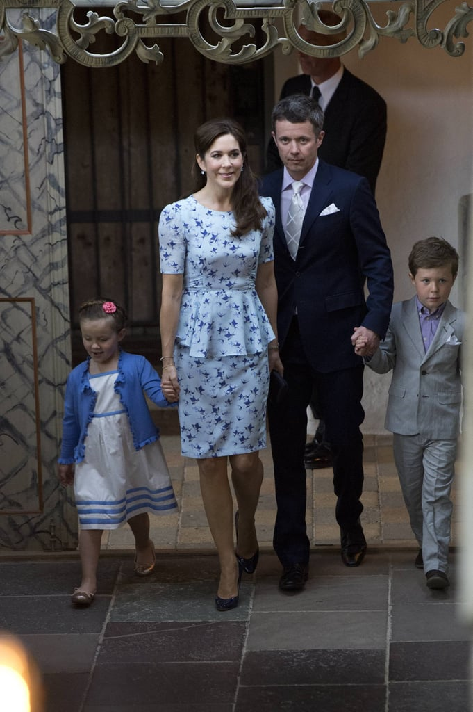 Mary stepped out in a peplumed floral ensemble from Dannii Minogue's Project D label for the christening of Princess Athena of Denmark. Worked the 'Phoebe' bluebird print frock back with an understated black ada clutch and patent pumps.