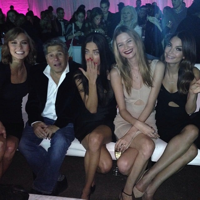 The Victoria's Secret Angels — Karlie Kloss, Adriana Lima, Behati Prinsloo, and Lily Aldridge — attended the annual Fashion Show viewing party with the brand's CEO, Ed Razek. Source: Instagram user karliekloss
