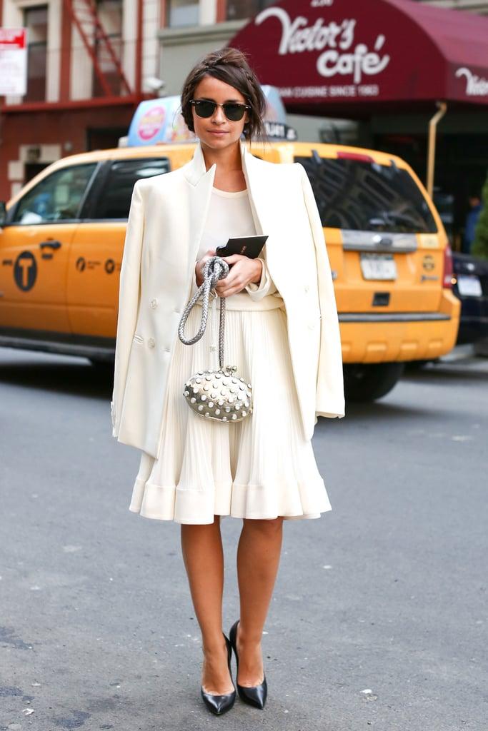 Miroslava Duma wowed in a creamy white, ladylike ensemble.