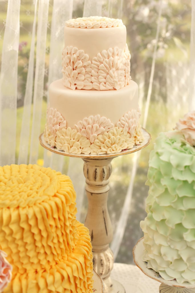 Typical ruffle cakes get an upgrade with fun colors and an appliqué-like pattern.