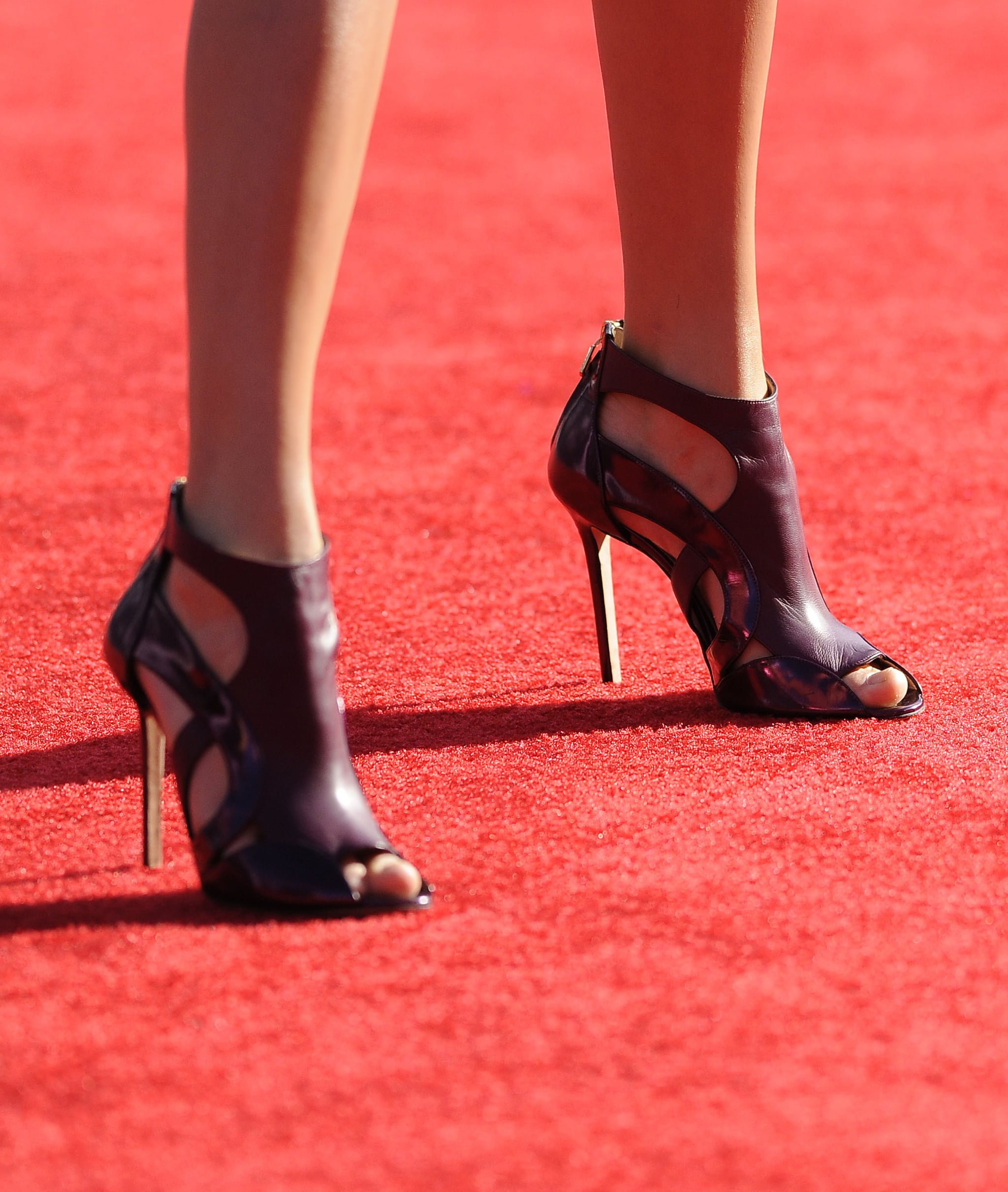 Taylor Swift completed her fun romper with these leather Elie Saab pumps.