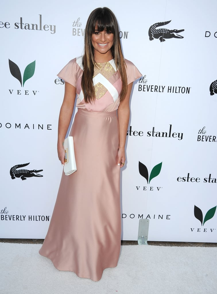 Lea Michele showed off an early-Summer tan in a peachy pink Alon Livné dress to toast the unveiling of The Beverly Hilton Hotel's redesigned Aqua Star Pool.