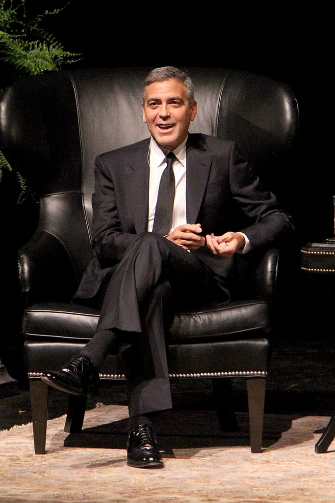 George Clooney had a laugh while being interviewed in Houston.