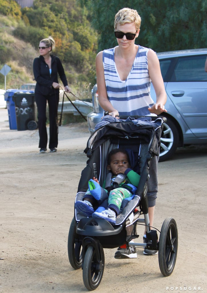 Charlize Theron went for a stroll with Jackson Theron.