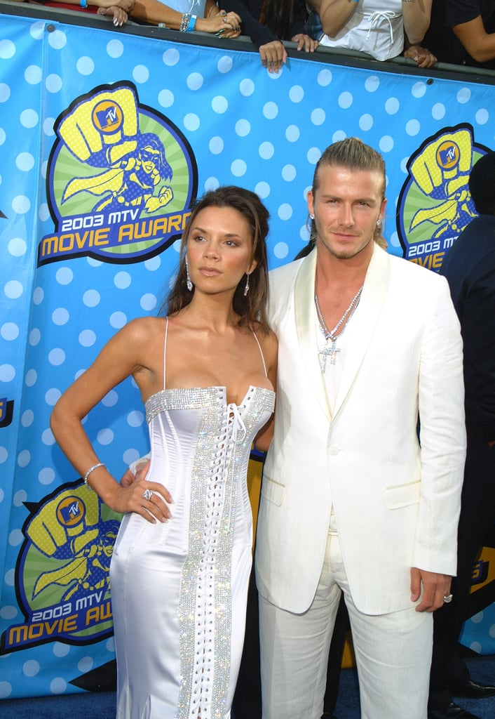 David Beckham and Victoria Beckham both wore white for the 2003 awards.
