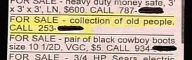 &quot;For Sale: collection of old people.&quot;<br />