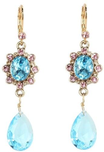 Betsey Johnson - Heart and Bow Gem Drop Earrings (Blue) - Jewelry