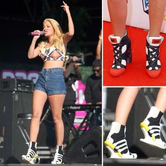 Tulisa Contostavlos Adidas Y-3 Oriah High Heel Trainer Boots