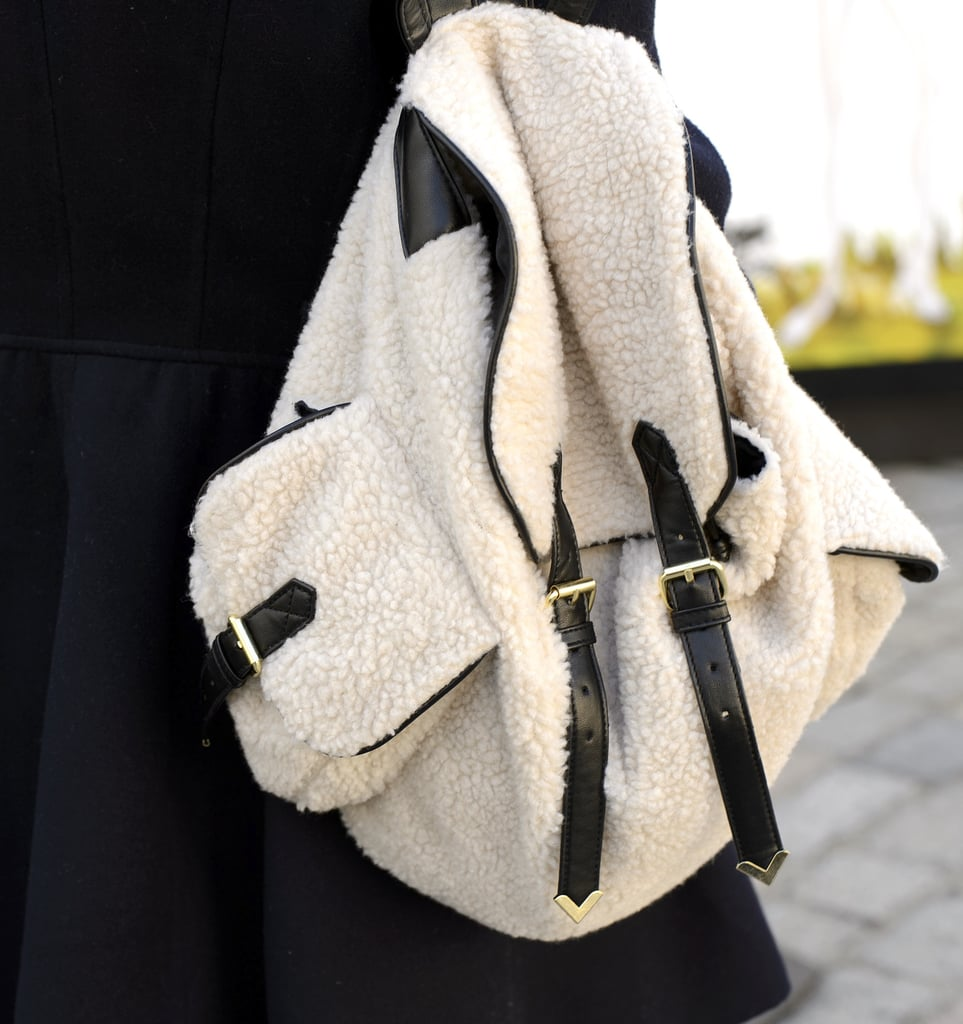 Shearling details gave this backpack a cozy, wintry touch.