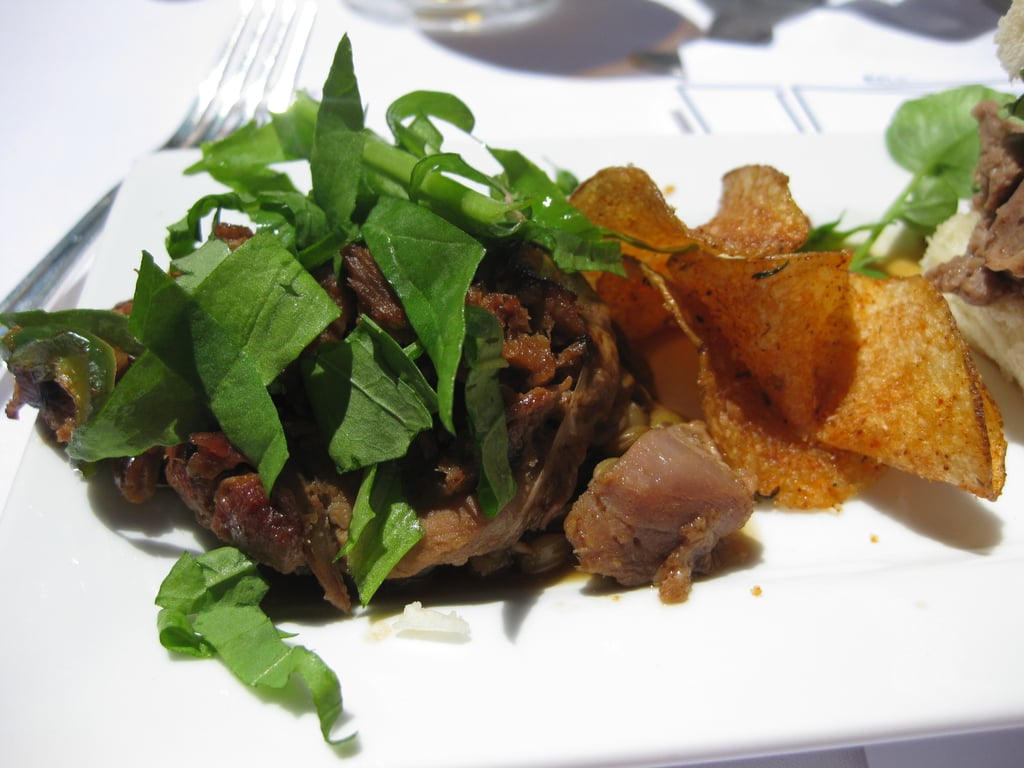 Goat crepinette with braised lentils and rocket greens. I want to know what spices were on the potato chips!