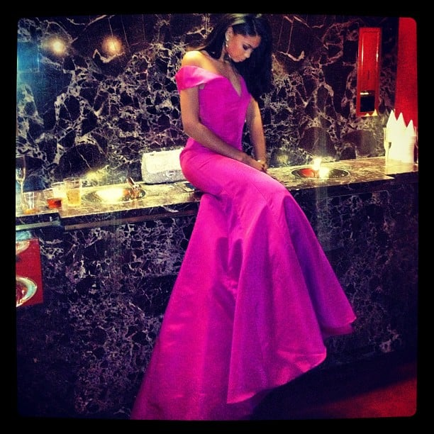 Chanel Iman posed in a purple gown in the bathroom at the American Ballet Theater. Source: Instagram user chaneliman