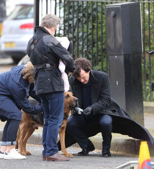 Benedict Cumberbatch in costume on the set of Sherlock with Martin Freeman