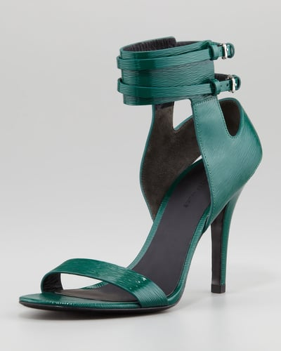 Alexander Wang Johanna Ankle-Cuff Patent Sandal, Vine Green