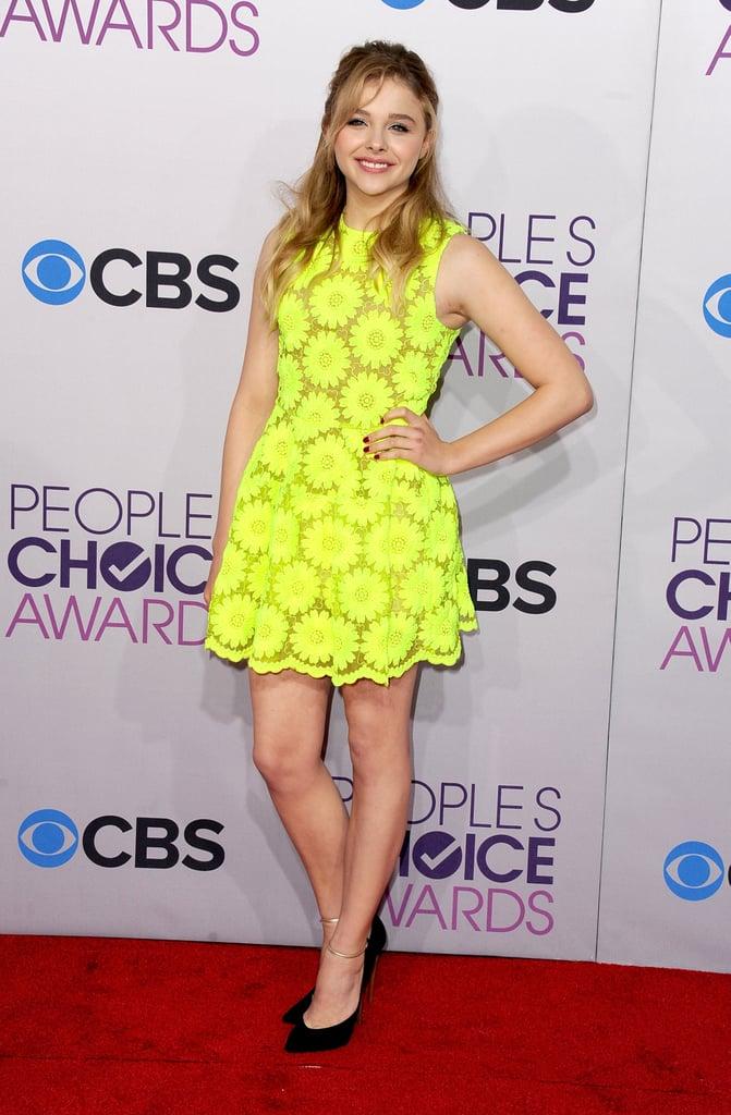 Chloë Moretz wore a pop of color.