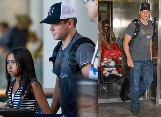 Photos of Matt Damon at LAX With Luciana, Alexia, Isabella And Gia