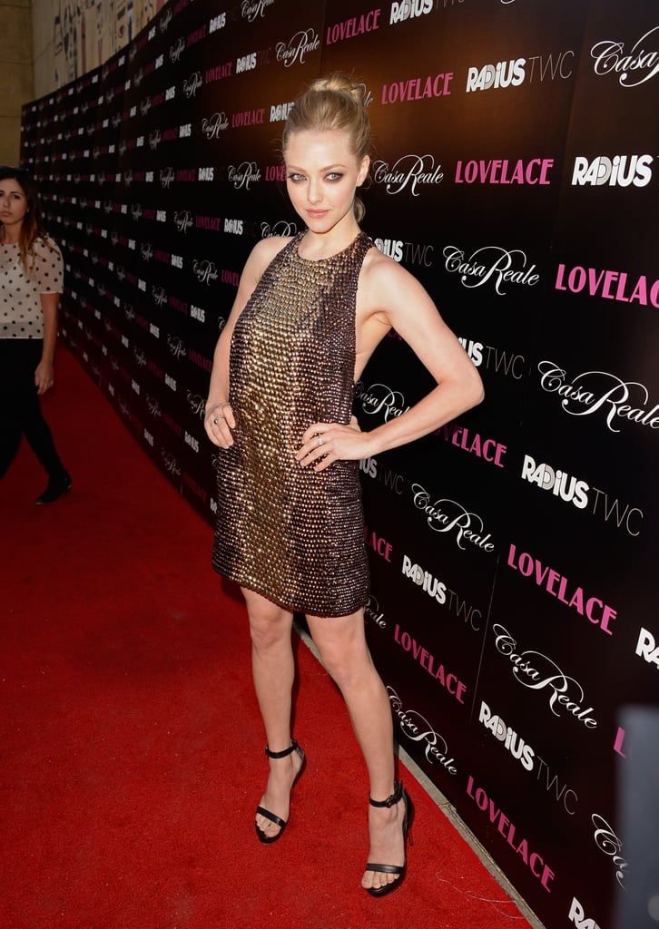 Amanda Seyfried's Gucci gown sparkled plenty on the Lovelace red carpet.