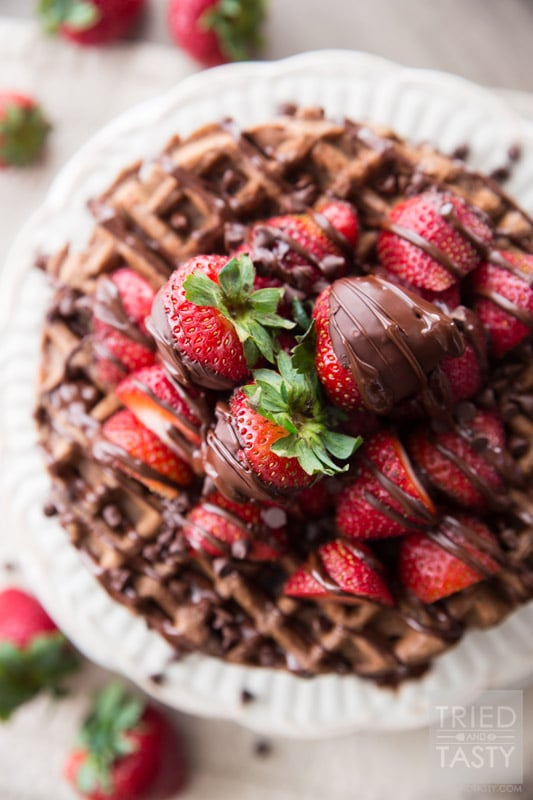 Whole-Wheat Dark-Chocolate-Covered Strawberry Waffles