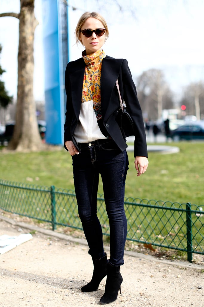 It's all about the blouse, and keeping everything else understated, in this mix.