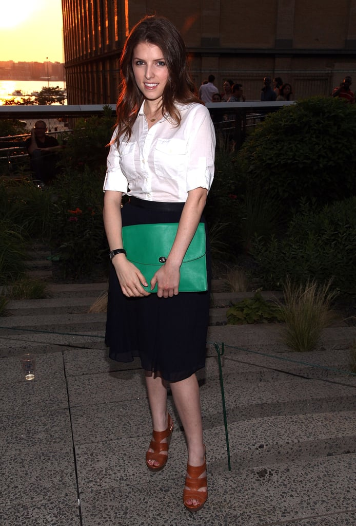 Anna Kendrick wore a white top and black skirt to Coach's Summer Party on the High Line in NYC.