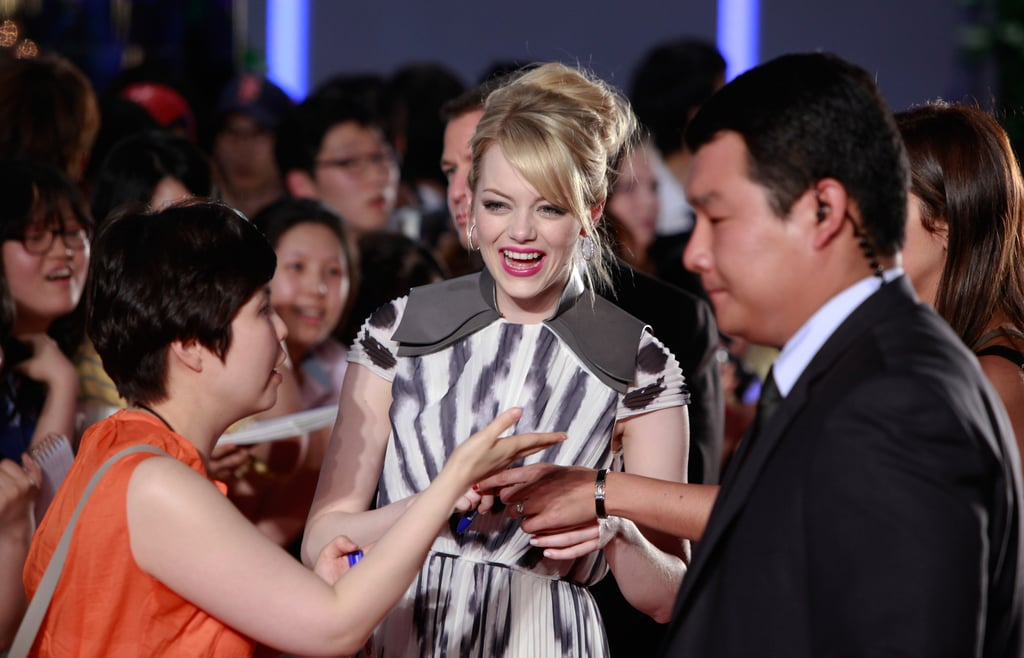 Emma Stone joked with the crowd.