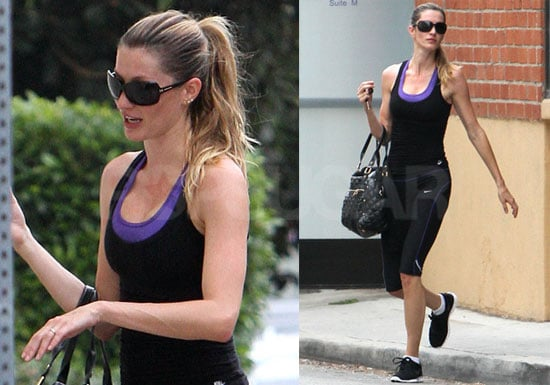 Pictures of Gisele Bundchen Working Out at Gym